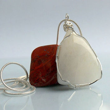 Free form shape large size Moonstone pendant silver wire wrapped with a silver plated necklace