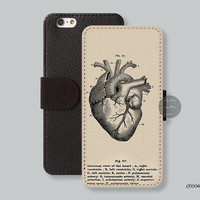 Sketch Heart Leather Wallet iPhone 6 case iPhone 6 plus case, Wallet cover iPhone 5s case iPhone 5c case Galaxy s3 s4 s5 Note3 - C00048