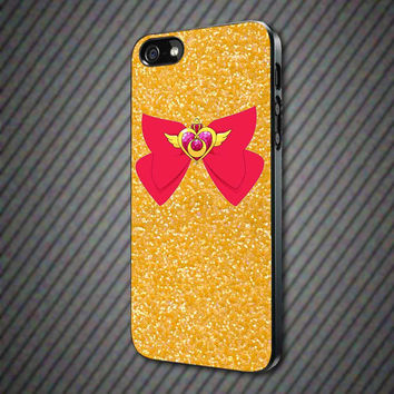 CashCases - Sailor Moon Crisis Moon Compact Glitter Gold Print- iPhone 4/4s, 5, 5s, 5c, Samsung S3, S4