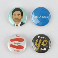 Tom Haverford Button Set! Parks and Recreation, Aziz Ansari, treat yo self, rent a swag