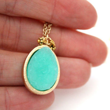 ONLY TODAY SPECIAL - Teardrop mint druzy pendant on gold chain
