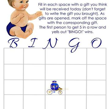 10 Prince Baby Shower Bingo Cards Light Skin