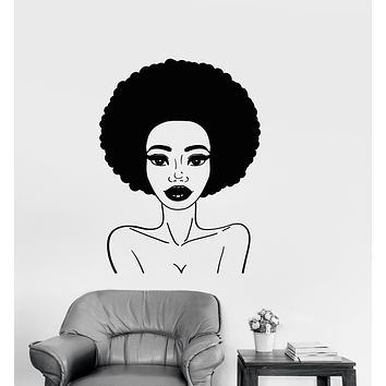 Vinyl Wall Decal Cartoon African Girl Hairstyle Naked Woman Stickers (3271ig)