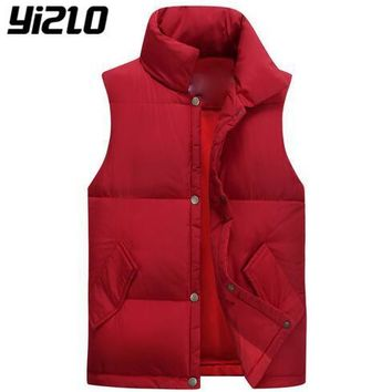 YIZLO 2017 Men High-end Thick Down Vest Men's Winter Coat Vest Down Man Brand Clothing Casual Waistcoat Male Lightweight Coats