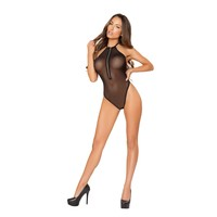 Roma RM-LI150 Sheer Body Suit with Halfway Zip-up Front & Open Back.