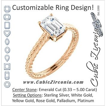 Cubic Zirconia Engagement Ring- The Florence (Customizable Cathedral-set Emerald Cut Solitaire with Vintage Braided Metal Band)