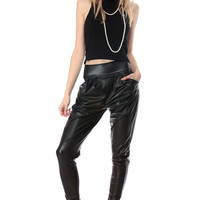 Black Faux Leather Harem Pants