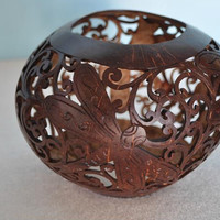 Handmade Carved Coconut Shell Votive - Dragonfly