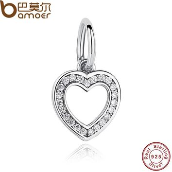 GIFT 925 Sterling Silver Symbol Of Love, Clear CZ Heart Crystals Surround Charms fit original Bracelets Jewelry PAS194
