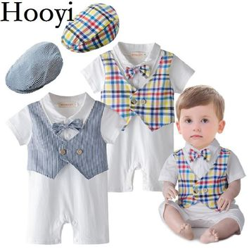 Hooyi Tuxedo Baby Rompers Summer Handsome Bow Tie Fashion Boys Jumpsuits Vest Plaid Stripe Clothes + Cap Beret Newborn Costumes