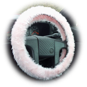 Baby pink Steering wheel cover plain fluffy furry fuzzy faux fur Girly girl Cute car camper van truck jeep pretty lady woman love valentine