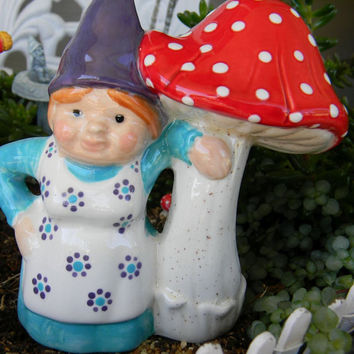 Gnome Lady Girl Gnome with Mushroom - glazed glass ceramic Red shroom purple hat Miss gnomer