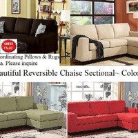 Microfiber Reversible Chaise Sectional Sofa
