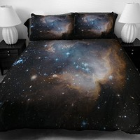 Anlye Black Blue Teen Galaxy Bedding Designing Set 2 Sides Printing Out Space Quilt Coverlet Dark Out Space Bed Sheets with 2 Decor Pillow Covers