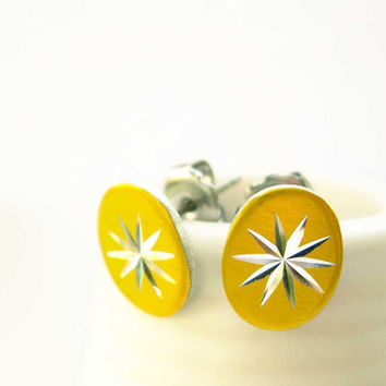 Small Earrings - Silver, Gold Toned, Minimalist Jewelry, Retro, Vintage Components, Starburst, Atomic Era, Post, Stud, Dainty, 1950s