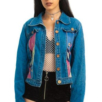Vintage 90's Kelly Patchwork Denim Jacket - XS/S/M