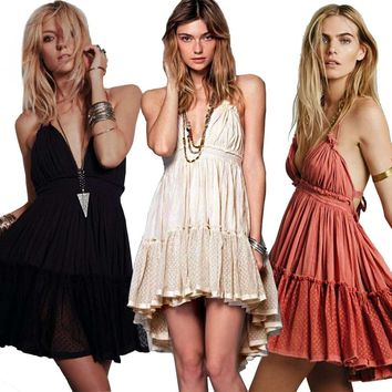 women Lace V neck pleated hippie chic brand