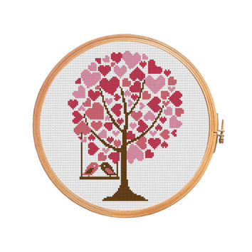 Tree Hearts - Cross stitch pattern