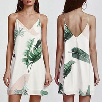 Summer Casual Fashion New Women  Dress Spaghetti Strap Slip Vest Sleeveless V Neck Dress Palm Leaf Print Double Cami Mini Dress