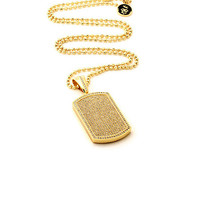 KING ICE 14K GOLD DOG TAG CZ NECKLACE - Gold | Jimmy Jazz - NKX10909