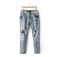 Korean Rinsed Denim Ripped Holes Jeans Pants Star Skinny Pants [5013092292]