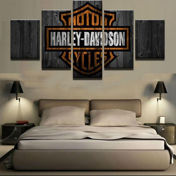Harley Davidson Motorcycles Canvas Barn Wood Style