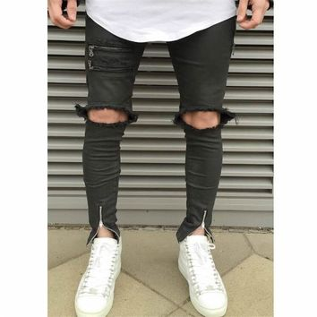 Ripped Zipper Holes Jeans For Men Skinny Distressed Slim Brand Designer Biker Hip Hop Swag Tyga Slim Jeans Free Shipping