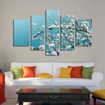 Extra Large Wall Art CANVAS - Almond Tree Canvas Print Ready to Hang  5 Panels Stretched on Deep 3cm Frame - Flowers