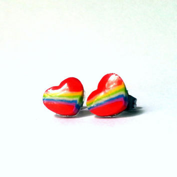 Rainbow Studs, Rainbow Heart Studs, Red Studs, Red Heart Studs, Rainbow Heart Studs, Rainbow Earrings, Heart Earrings, Clay Heart Studs
