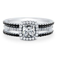 Sterling Silver Cushion Cubic Zirconia CZ Halo Ring Set 1.15 ct.twBe the first to write a reviewSKU# VR205-02