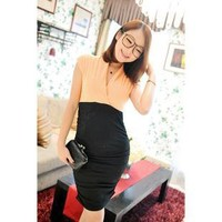 Color stack collar shirring waist dress two color