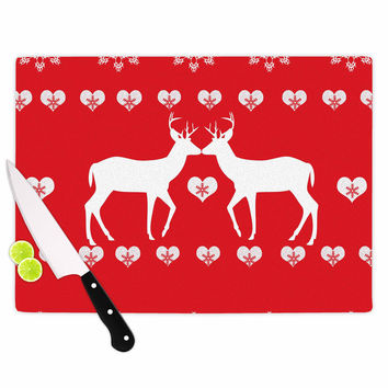 "Suzanne Carter ""Christmas Deer 2"" Holiday Pattern Cutting Board"
