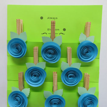Aqua Blue paper flower Bag Clips, rose Kitchen Magnet set, clothespin magnets, photo display clips, office organization, work order holder