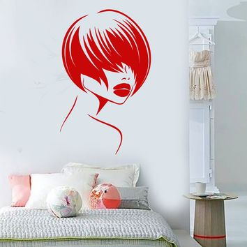 Vinyl Wall Decal Beautiful Face Girl Hairstyle Model Lips Stickers (2243ig)