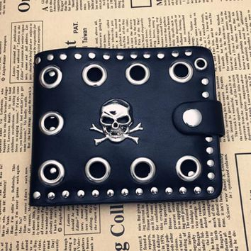Vintage Men Rivets Short Purse Boys Goth Skull Head Black PU Leather Wallets Biker Punk Snap Hasp Zipper Wallet with Long Chain