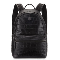 MCM Luxus Crocodile-Embossed Backpack, Black