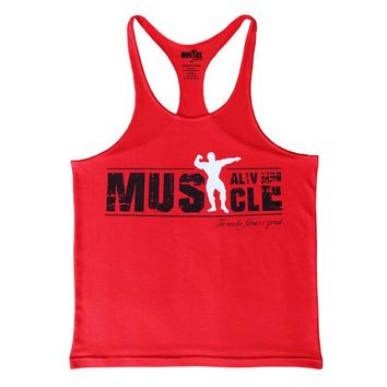 Red Muscle Tank Top