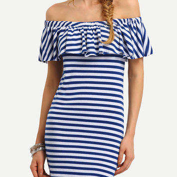 Striped Ruffled Off-The-Shoulder Dress