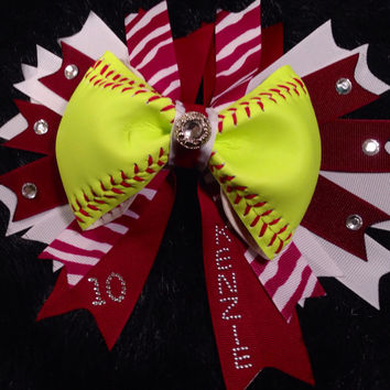 """Custom Softball Bow with double layer 7"""" Spike ribbons with player number and name added to ribbon. Up to six letters."""