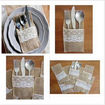 5 Pcs Eco-friendly Cutlery Pocket Knife and Fork Burlap Lace Tableware Bag for Wedding Decor (Size: 21.5cm by 11.5cm) [7983469703]