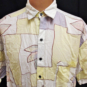 Vintage 80s Shirt Art Shapes Mod Crazy Patterned Shirt XL