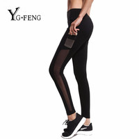 YGFENG S-XL Women Patchwork Mesh Leggings Fitness Perspective Black Leggings With Pocket Punk Rock Gymnast Leggings Legins