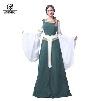European Dress Medieval Renaissance Clothing with Belt Green Cosplay Custom