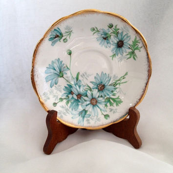 Pretty Blue Floral MARGUERITE pattern Vintage Royal Albert Bone China Saucer