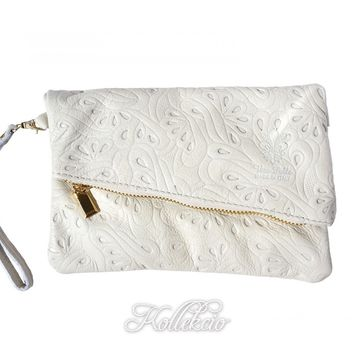 Italian Folded White Genuine Leather Clutch with Pattern