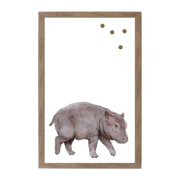 Baby Jungle Animals Hippo Rustic Brown Frame