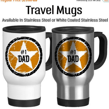 Number One Dad, Rock Star Father, I Love You Dad, Best Dad Ever, Birthday Gift For Dad, Father's Day Gift, Travel Mug, Star, Orange