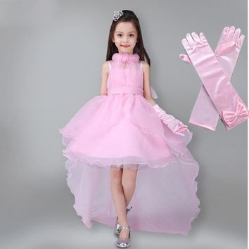 Girls Dress Summer Kids Party Dress Long Tailing Girls Clothes Elegant Evening Flower Girl Dress Kids Wedding Dress with Gloves