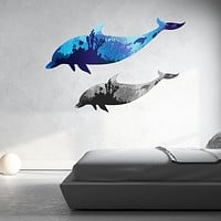 Coral Dolphins Wall Decal Sticker