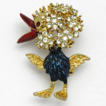 SPHINX England Vintage Chick Figural Brooch Pin Rhinestone Enamel Gold Plated